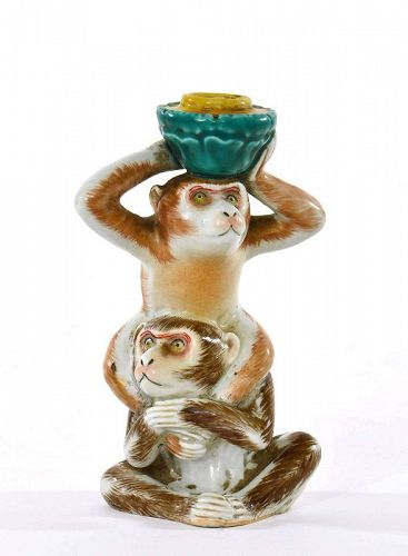 Old Japanese Kutani Porcelain Monkey Candle Holder