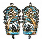 2 Old Chinese Silver Enamel Bear Flower Bird  Feather Plaque