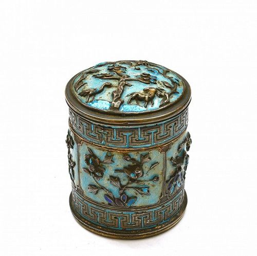 Early 20C Chinese Silver Enamel Box Flower Bird