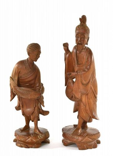 1900's Chinese Boxwood Carved Fisherman Couple Figure Figurine