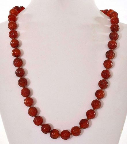 1950's Chinese Agate Carved Bead Necklace with Silver Clip Marked