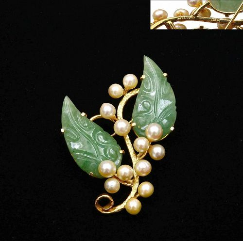 Ming's Hawaii 14K Gold Jadeite Jade Caved Pearl Pin Brooch Marked