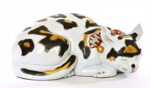 Old Japanese Kutani Sleeping Cat Maneki Neko
