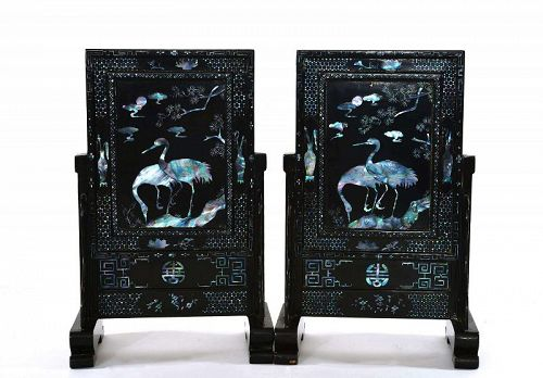 2 Chinese Mother of Pearl Carved Crane Bird Lacquer Table Screen