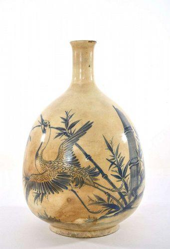 19C Japanese Ko-Imari Sake Tokkuri Liquor Bottle Crane Bamboo