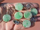 Chinese Jade Jadeite Carved Plaque Phoenix 14K Gold Bracelet Earrings