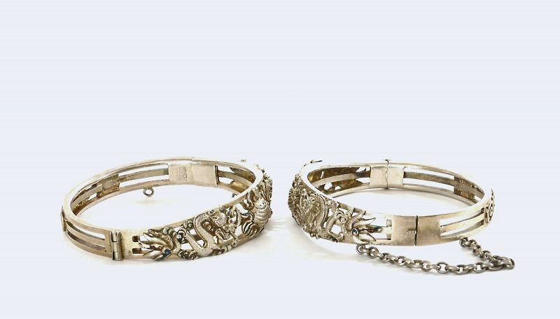 """Pair of Old Chinese Silver Enamel Relief Dragon Bracelet Marked""""�寶"""""""