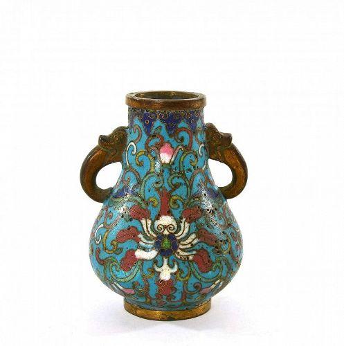 Late 18C Chinese Gilt Bronze Enamel Cloisonne Vase Beast Ear