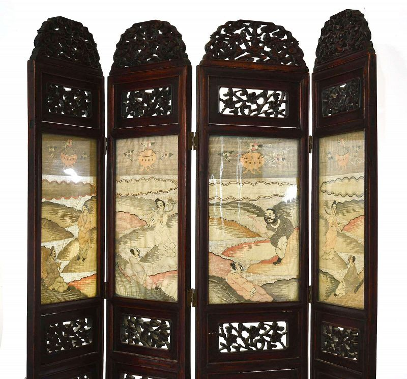 Chinese Kesi Kossu Silk Embroidery Hardwood Carved Screen Panel Dragon