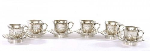 6 Chinese Sterling Silver Tea Cup & Saucer Set Melon & Butterfly Mk