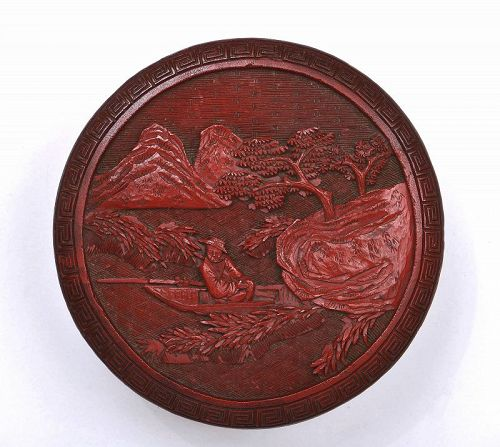 18C Chinese Deep Carved Cinnabar Lacquer Round Box Fisherman