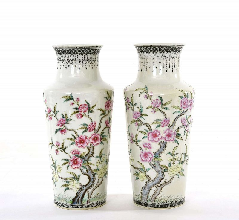 Pair of Chinese Famille Rose Porcelain Vase  Plum Blossom Marked