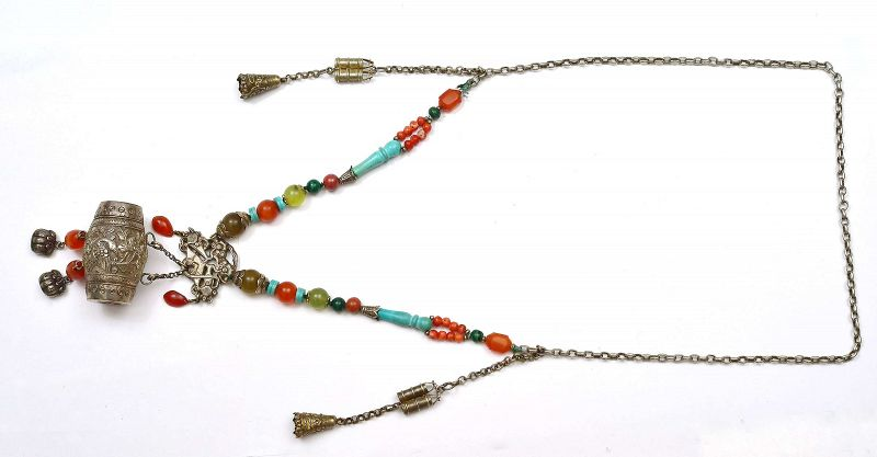 1930's Chinese Silver Pendant Agate Turquoise Coral Bead Necklace