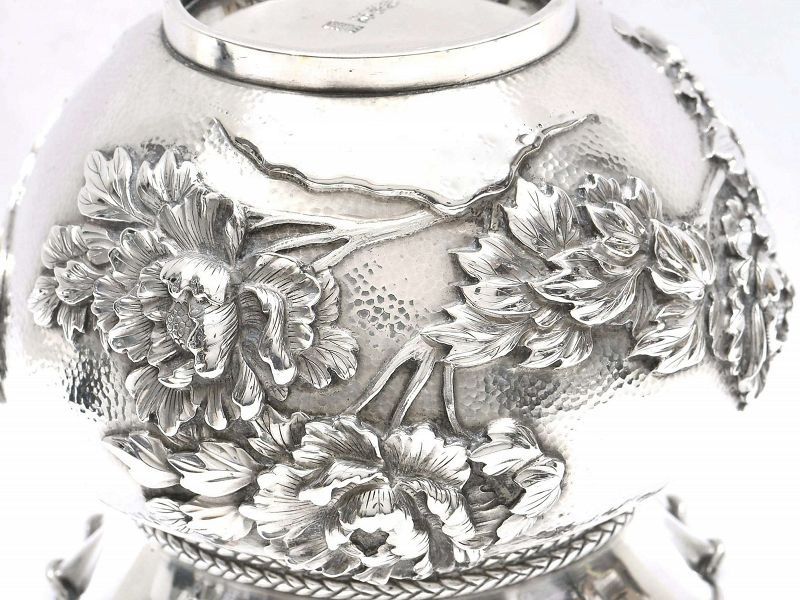 1920's Japanese Silver Repousse Bag Pouch Shaped Vase Flower Jungin