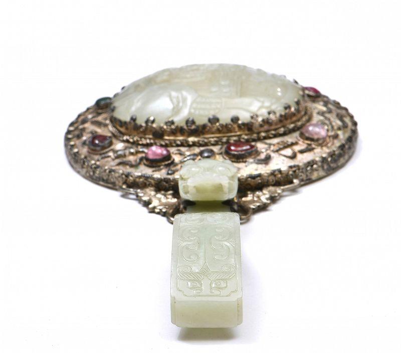 18C Chinese White Jade Nephrite Belt Hook Plaque Tourmaline Mirror