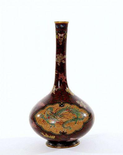 1930's  Japanese Cloisonne Enamel Dragon & Phoenix Vase