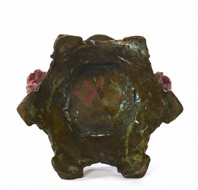 1900's Chinese Bronze Dragon Fu Dog Lion Candlestick