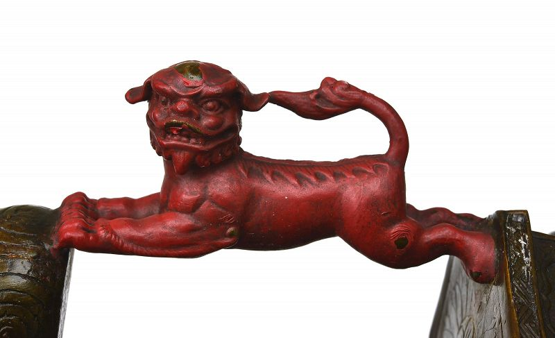 1900's Chinese Bronze Dragon Fu Dog Lion Candlestick