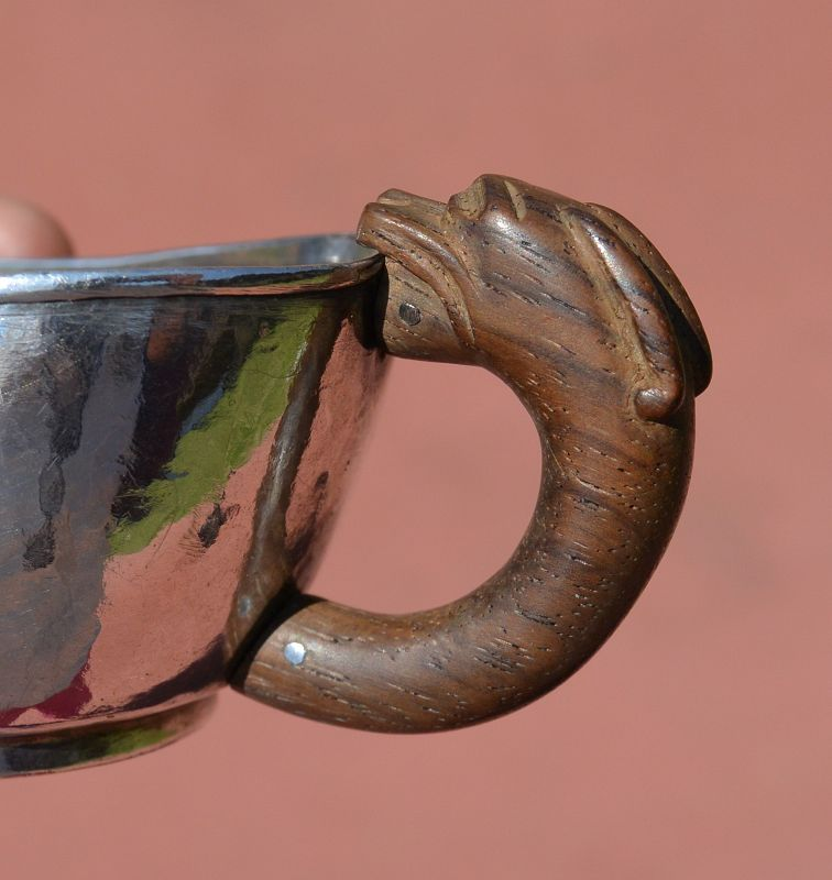 Old Chinese Sterling Silver Wine Cup Huanghuali Wood Carved Handle Mk