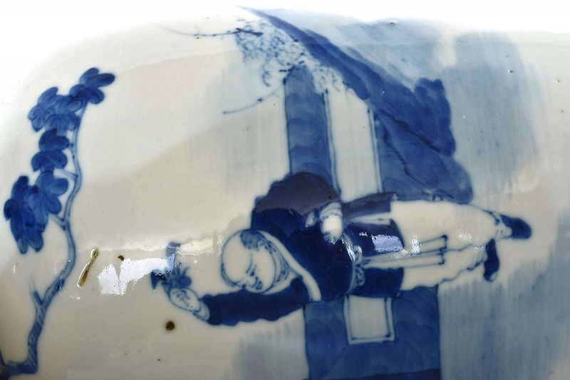 2 Old Chinese Blue & White Porcelain Cover Jar Vase Lady & Boy