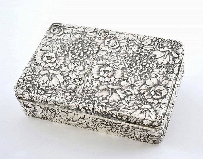 Old Japanese Sterling Silver Repousse Flower Box Signed