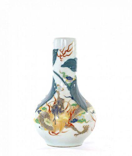 Old Japanese Studio Porcelain Relief Dragon Vase Mk