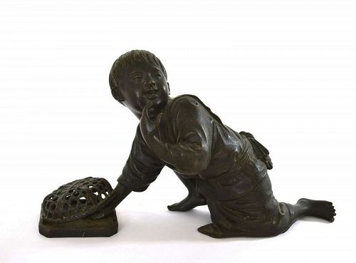 Old Japanese Bronze Boy Catching Bird Okimono Figure Figurine Sg