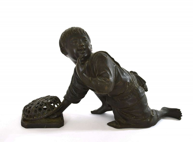 Old Japanese Bronze Boy Catching Bird Okimono Figure Figurine Sg