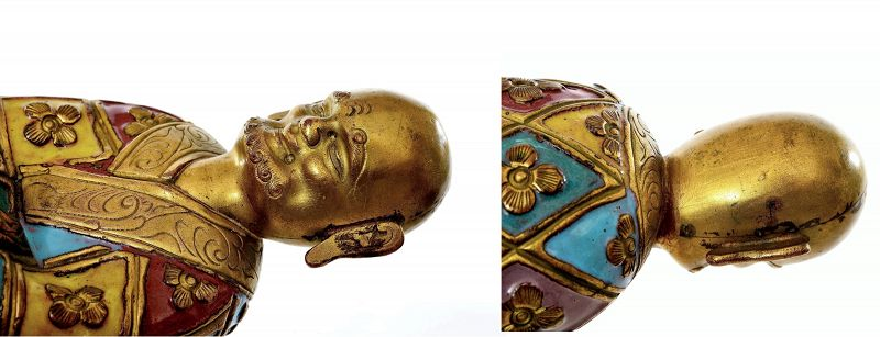 19C Chinese Gilt Enamel Champleve Cloisonne Copper Buddha Louhan
