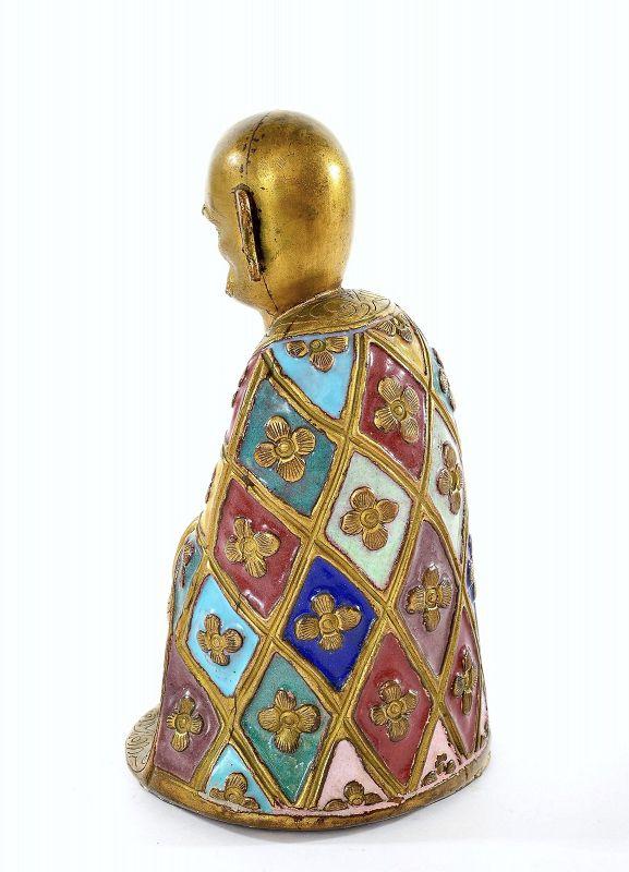 19C Chinese Gilt Enamel Cloisonne Bronze Buddha Monk Lohan Figurine