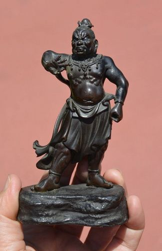19C Japanese Bronze Temple Guardian God Figure Figurine