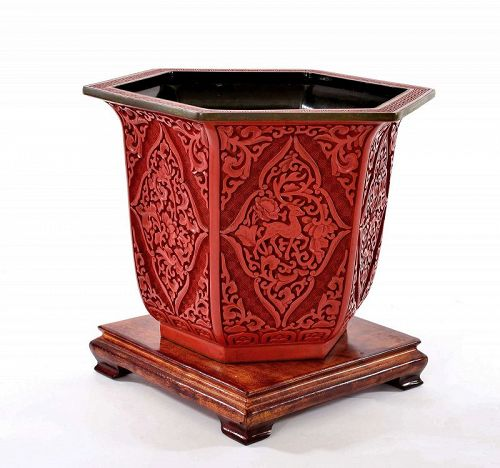 Chinese Deep Carved Cinnabar Lacquer Planter Pot Deer Wood Stand