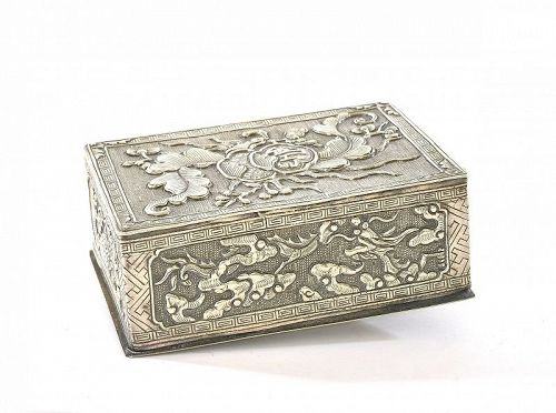 1900's Chinese Sterling Silver Scholar Box Relief Motif