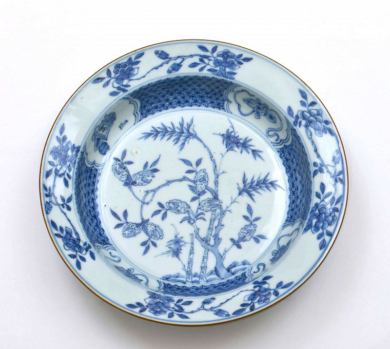 18C Chinese YongZheng �正 Blue & White Porcelain Plate Flower