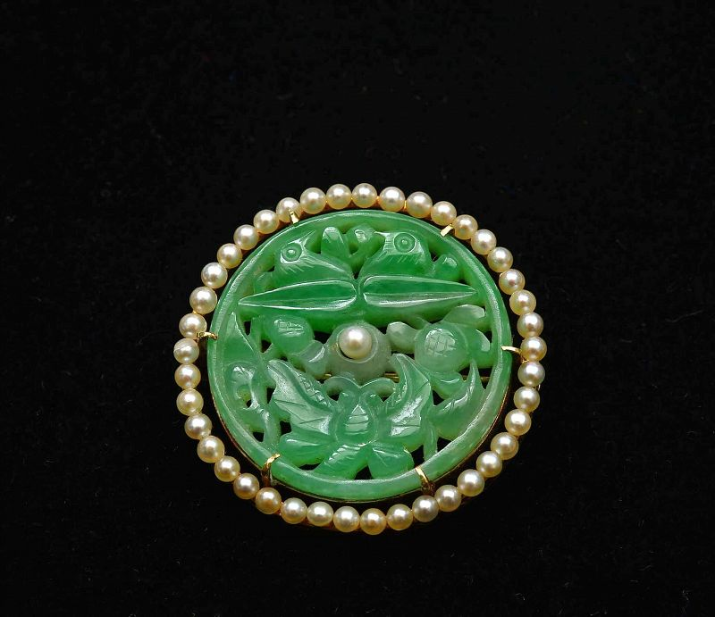Old 14K Gold Chinese Jadeite Carved Seed Pearl Pin Brooch Mk