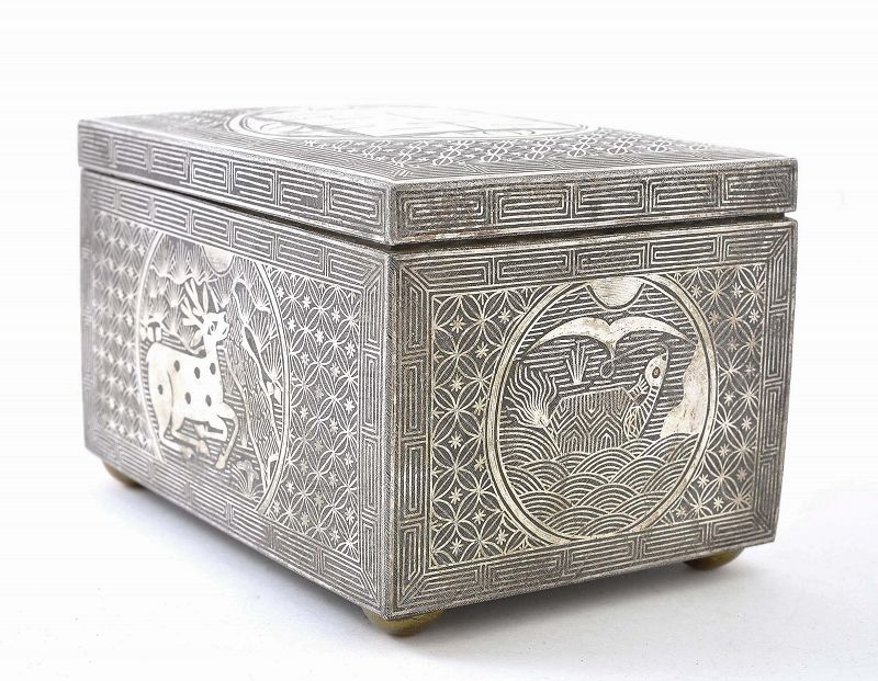 18C Korean Iron Silver Inlay Box Deer & Crane