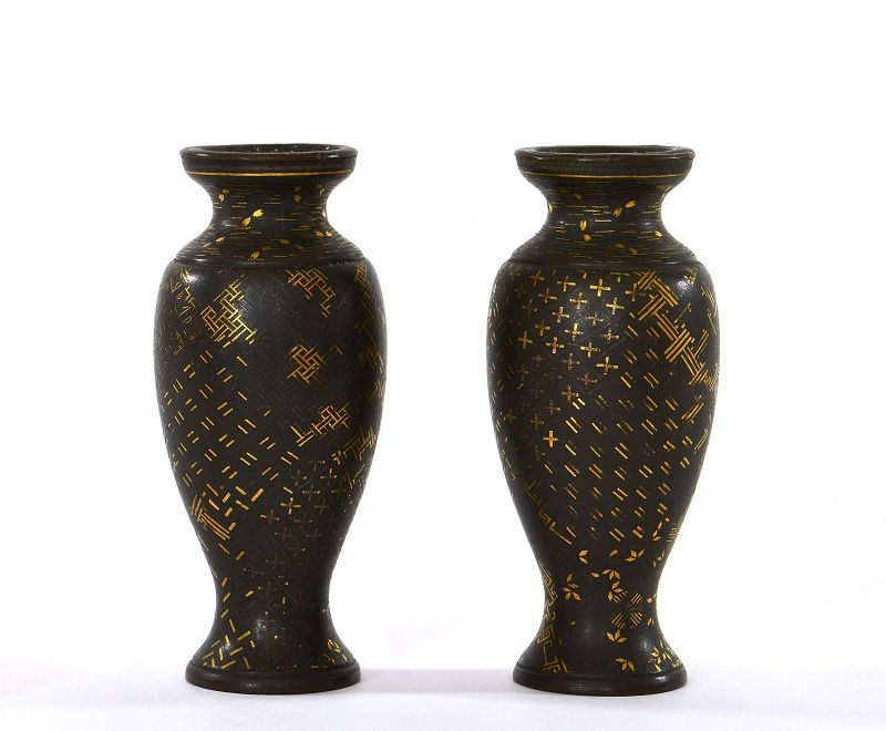 Pair of Old Japanese Mixed Metal Vase