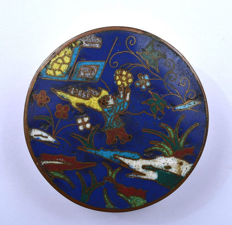 Early 19C Chinese Gilt Cloisonne Enamel Box Kid Flower