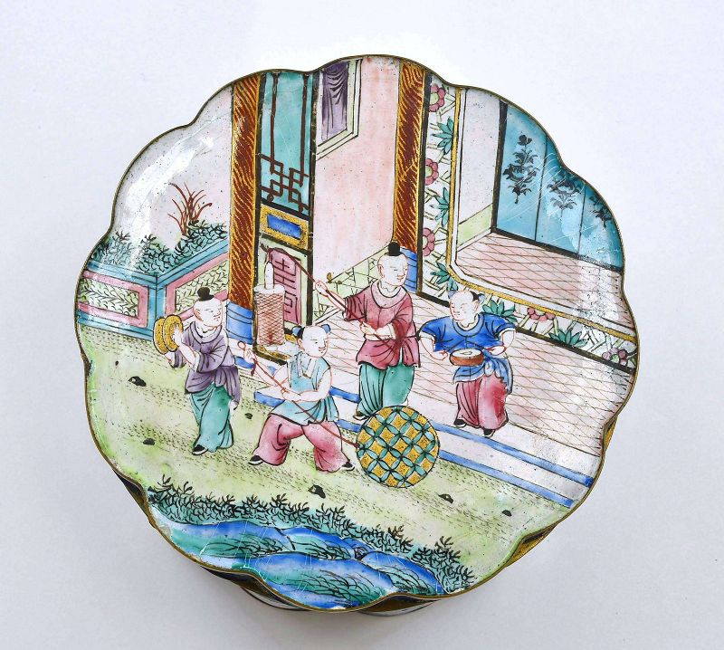 18C/19C Chinese Canton Enamel Box Figure Boys Play Ball