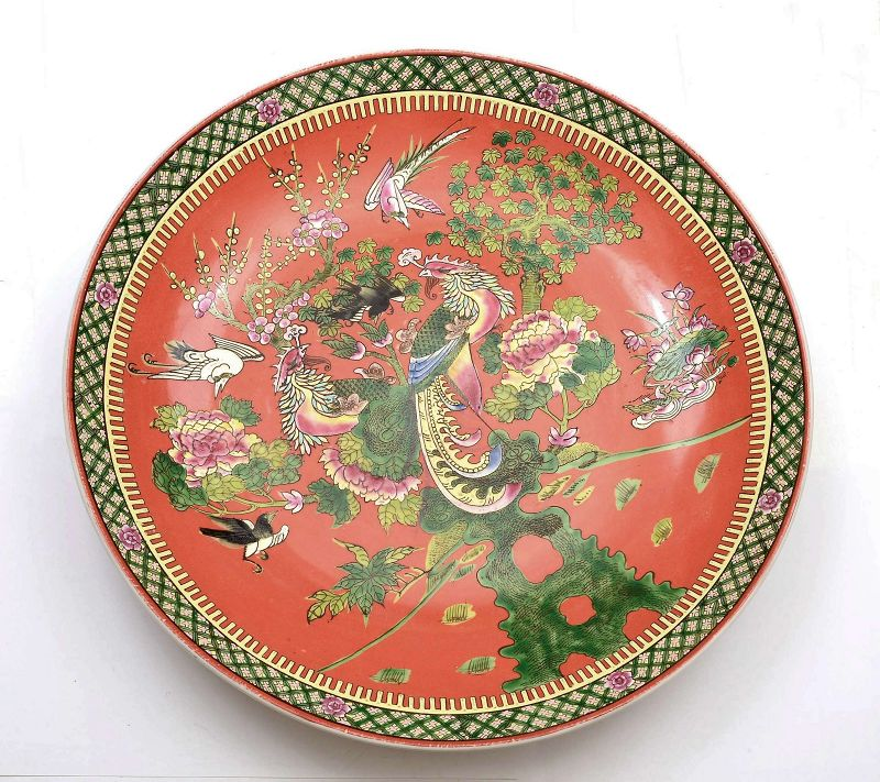 Chinese Famille Rose Verte Porcelain Charger Plate Phoenix Bird
