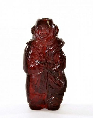 1900' s Chinese Cherry Amber Carved Boy Figurine Figure Snuff Bottle