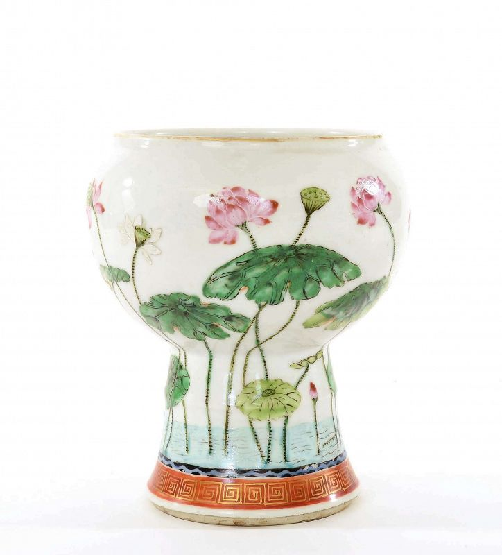 19C Chinese Famille Rose Porcelain Vase Bowl Lotus Flower