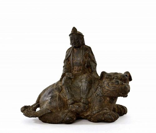 15C Chinese Gilt Lacquer Bronze Manjushri Buddha Kwan Yin Sit Lion