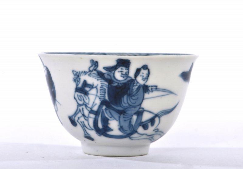 17C Kangxi Blue & White Porcelain Cup Wushu Figurine