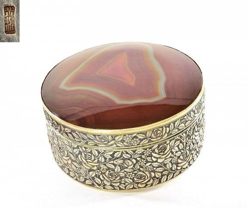 1900's Chinese Export Straits Gilt Sterling Silver Agate Carnelian Box