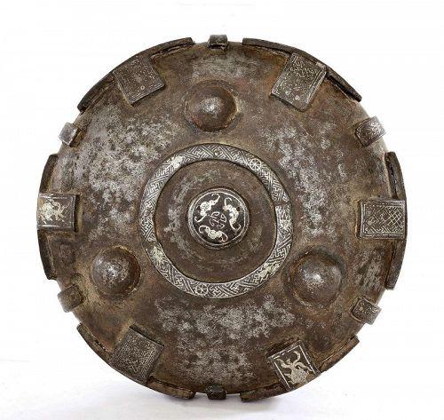17C Chinese Tibetan Iron Silver & Gold Inlaid Censer Bowl