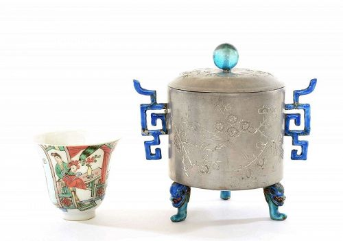Old Chinese Enamel Pewter Wine Warmer Pot Famille Rose Tea Cup