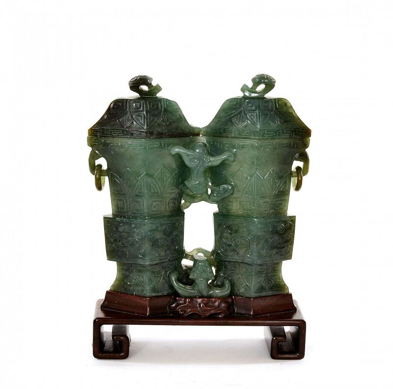 Chinese Spinach Jade Carved Carving Double Vase Lizard