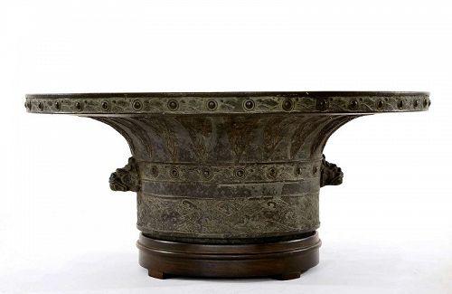 Old Japanese Chinese Archaic Style Bronze Bowl Usabata Shishi