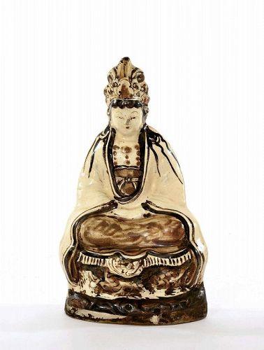 13C Chinese Cizhou Pottery Quan Kwan Yin Buddha Figurine